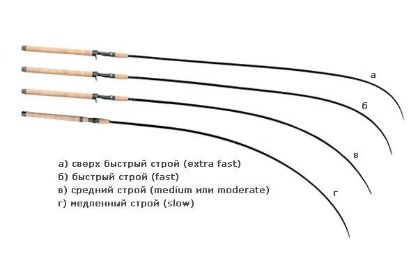 Здесь показано как изгибаются удилища, имеющие различный строй
