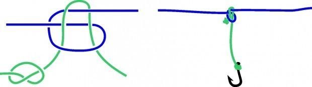 Как привязать второй крючок к леске