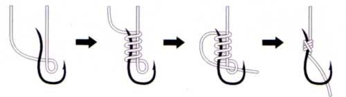 Как привязать крючок к леске