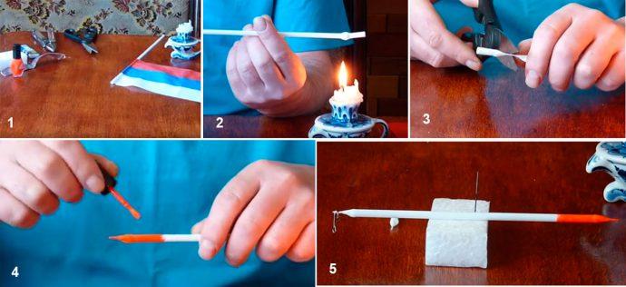 Как сделать поплавок из пластиковой трубочки