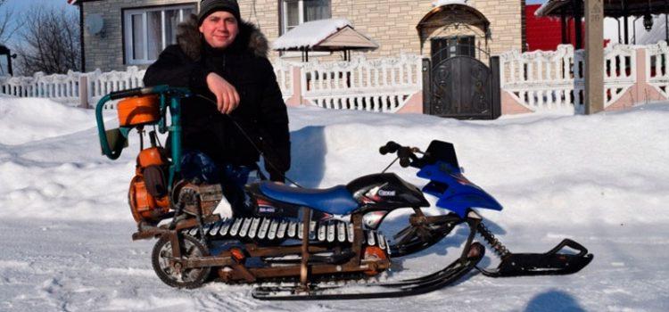 Снегоход из бензопилы своими руками