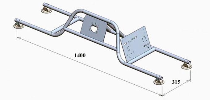 Малая рулевая стойка с креплением на 2 баллона