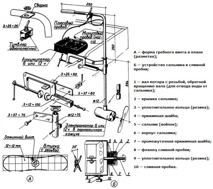 Схема самодельного мотора для лодки