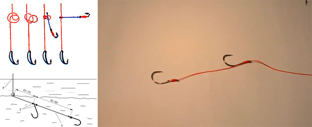рыбалка привязать два крючка
