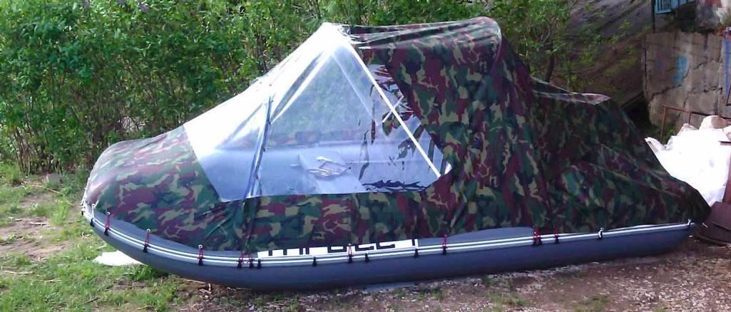 Стояночный тент на лодку своими руками