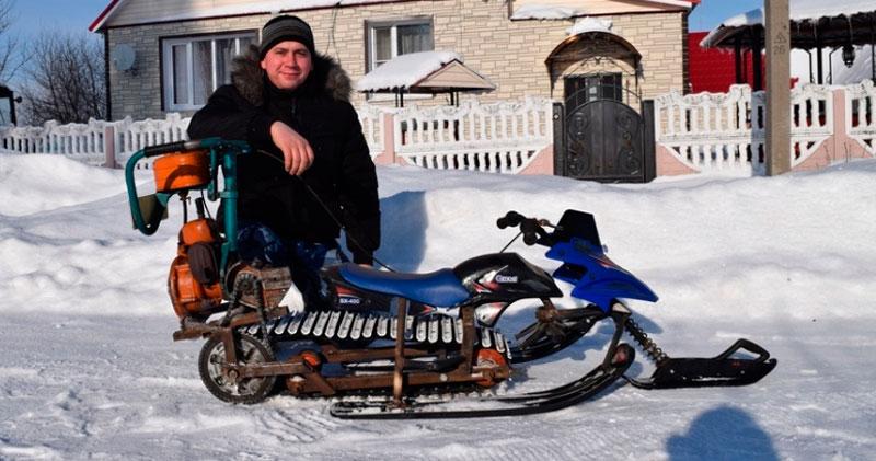 Как сделать снегоход из бензопилы своими руками